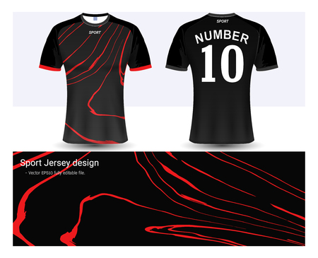 Soccer jersey and t-shirt sport mock-up template, Graphic design for football club or active wear uniforms, Ready for customize icon and name, Easily to change colors and lettering styles in your team. Illustration