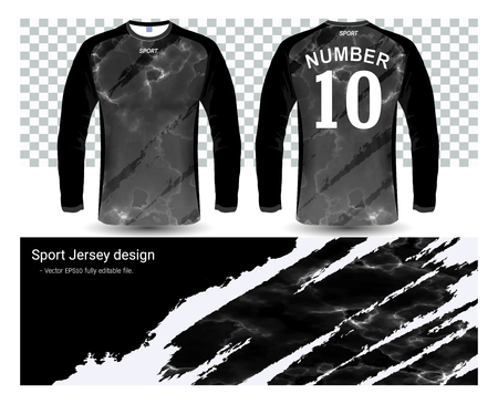 Long sleeve soccer jerseys shirts template Vectores
