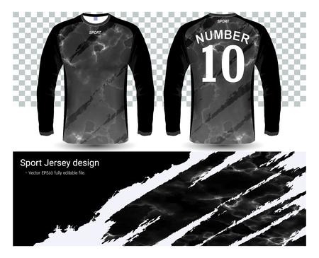 Long sleeve soccer jerseys shirts template Illustration