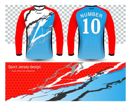 Long sleeve soccer jerseys t-shirts template Vectores