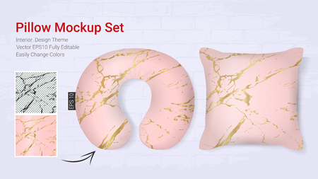 Realistic travel neck pillows mockup template and cover cushion case, Printable graphic for Home decorative theme design with marble golden texture Vettoriali