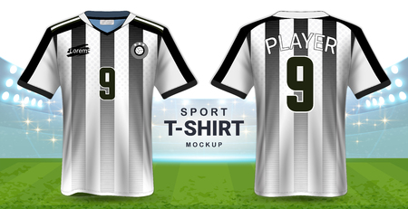 Soccer Jersey and Sportswear T-Shirt Mockup Template, Realistic Graphic Design Front and Back View for Football Kit Uniforms, Easy Possibility to Apply Your Artwork, Text, Image.