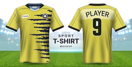 Szablon makiety koszulki piłkarskiej i koszulki sportowej, realistyczny projekt graficzny z przodu iz tyłu strojów piłkarskich, łatwa możliwość zastosowania grafiki, tekstu, obrazu.