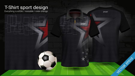 Soccer jersey template, Sport t-shirt style, Design football kit uniform or activewear and gym clothes, For your custom made team or any occasion, Everything is edible, resizable and color change. Vector Illustratie