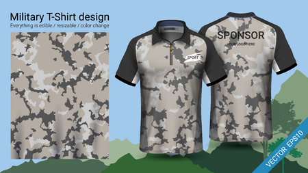 Military polo t-shirt design, with camouflage print clothes for jungle, hiking trekking or hunter.  イラスト・ベクター素材