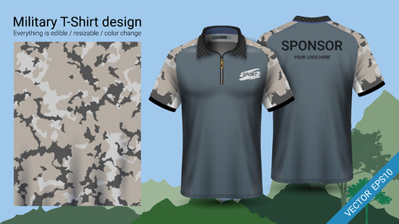Military polo t-shirt design, with camouflage print clothes for jungle, hiking trekking or hunter. Vettoriali