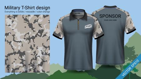Diseño de camiseta tipo polo militar, con ropa estampada de camuflaje para selva, trekking o cazador. Ilustración de vector