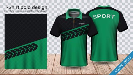 Polo-T-Shirt mit Reißverschluss, Fußballtrikot-Sportmodellvorlage für Fußballausrüstung oder Aktivkleidung für Ihr Team, Ihre Schule, Ihr Unternehmen oder jede Gelegenheit. Alles ist essbar, in der Größe veränderbar und ändert die Farbe. Vektorgrafik