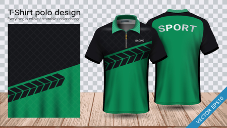 Polo t-shirt with zipper, Soccer jersey sport mockup template for football kit or activewear uniform for your team, school, company, or any occasion, Everything is edible, resizable and color change. Archivio Fotografico - 106728843