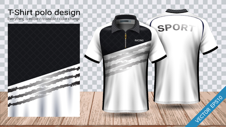 Polo t-shirt with zipper, Soccer jersey sport mockup template for football kit or activewear uniform for your team, school, company, or any occasion, Everything is edible, resizable and color change. Vettoriali