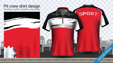 Polo t-shirt with zipper, Jersey mockup template for sports clothing and uniforms, such as soccer or football kit, racing apparel, pit crew, Everything is edible, resizable and color change. Stock Vector - 106680515