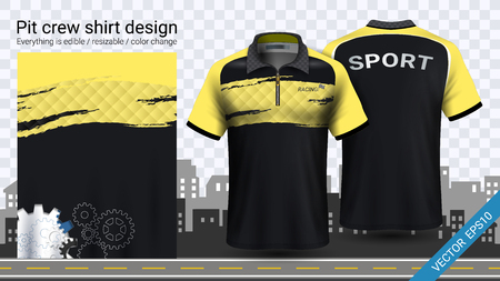 Polo t-shirt with zipper, Jersey mockup template for sports clothing and uniforms, such as soccer or football kit, racing apparel, pit crew, Everything is edible, resizable and color change. Stockfoto - 106680517