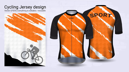 Cycling Jerseys, Short sleeve sport mockup template, Graphic design for bicycle apparel or Clothing outerwear and raingear uniforms, Easily to change name, color and lettering in your styles.