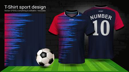 Soccer jersey and t-shirt sport mockup template, Graphic design for football kit or activewear uniforms, Ready for customize design and name, Easily to change colors and lettering styles in your team.