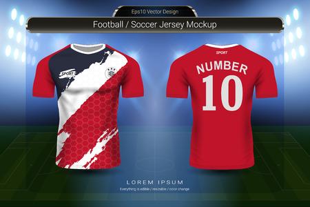 Modello di mockup di maglia da calcio e t-shirt sportiva, design grafico per kit da calcio o uniformi per abbigliamento sportivo, pronto per personalizzare design e nome, cambiare facilmente colori e stili di lettere nella tua squadra.