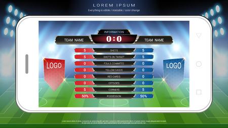 Fußball Fußball Handy live, Anzeigetafel Team A gegen Team B und globale Statistiken übertragen grafische Fußballvorlage, Für Ihre Präsentation der Spielergebnisse