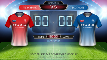 Soccer jersey mock-up team A vs team B, Digital timing scoreboard match vs strategy broadcast graphic template for presentation score or game results