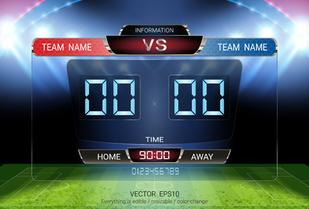 Digital timing scoreboard, Football match team A vs team B, Strategy broadcast graphic template for presentation score or game results display Vektorové ilustrace