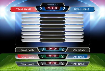 Vorlage für Anzeigetafel und untere Drittel, Sportfußball und Fußballspiel Team A gegen Team B, Strategie-Broadcast-Grafik für die Anzeige der Präsentationsergebnisse oder der Spielergebnisse Vektorgrafik