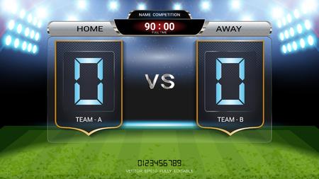 Tabellone segnapunti digitale, squadra di partite di calcio A vs squadra B, modello grafico di trasmissione di strategia per la visualizzazione del punteggio di presentazione o dei risultati del gioco
