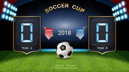 Digitale Timing-Anzeigetafel, Fußballspiel-Team A gegen Team B, Grafikvorlage für Strategie-Broadcasts zur Darstellung der Präsentationsergebnisse oder der Spielergebnisse