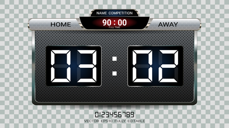 Digital timing scoreboard, Football match team A vs team B, Strategy broadcast graphic template for presentation score or game results display