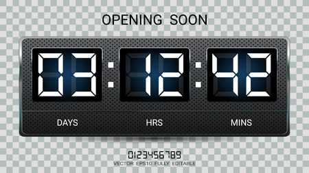 Countdown timer remaining or Clock counter scoreboard with days, hours and minutes display for web page coming soon or under construction