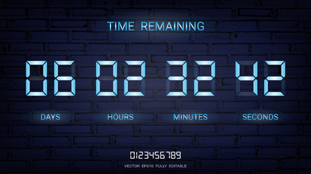 Countdown timer remaining or Clock counter scoreboard with days, hours, minutes and seconds display, Neon glow on a dark background for web page coming soon or under construction Vektorové ilustrace