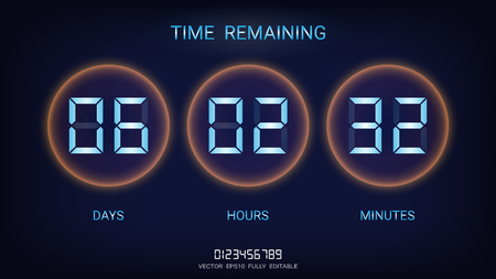 Countdown timer remaining or Clock counter scoreboard with days, hours and minutes display, Neon glow on a dark background for web page coming soon or under construction Stock Illustratie