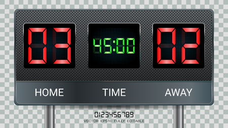 Digitale Zeitanzeigetafel, Fußballspiel-Team A vs. Team B, Strategie-Broadcast-Grafikvorlage für Präsentationsergebnisse oder Spielergebnisanzeige