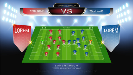 Football or soccer starting lineup, Jersey uniforms and scoreboard match vs strategy broadcast graphic template for presentation score or game results of sport tournament (Vector file fully editable) Ilustração