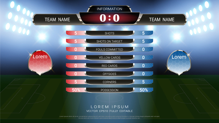 Football scoreboard team A vs team B and global stats broadcast graphic soccer template, For your presentation of the match results 版權商用圖片 - 107414194