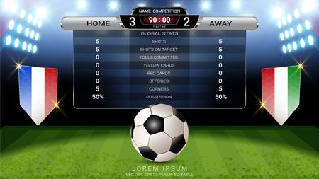 Fußball Anzeigetafel Team A gegen Team B und globale Statistiken senden grafische Fußballvorlage, Für Ihre Präsentation der Spielergebnisse