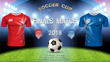 2018 World championship football cup template, Champions final match-winning concept and Soccer jersey mock-up, For presentation score or game results Illustration
