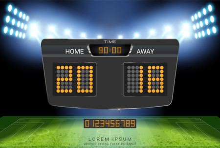Digital timing scoreboard, Sport soccer and football match Home Versus Away, Strategy broadcast graphic template for presentation score or game results display