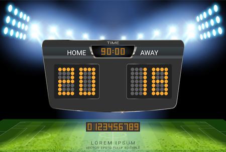 Digitale Timing-Anzeigetafel, Sportfußball und Fußballspiel Heim gegen Auswärts, Grafikvorlage für die Strategieübertragung für die Anzeige der Präsentationsergebnisse oder der Spielergebnisse