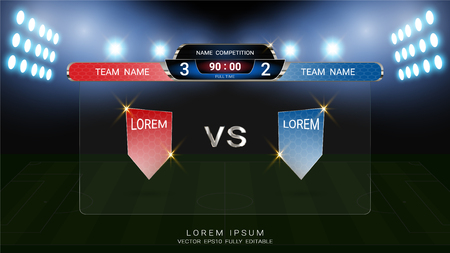 Soccer scoreboard team A vs team B broadcast graphic template with flag and stadium background, For your presentation of the match results of football tournament 일러스트