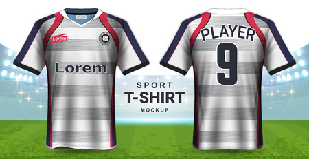 Soccer Jersey and Sportswear T-Shirt Mockup Template, Realistic Graphic Design Front and Back View for Football Kit Uniforms, Easy Possibility to Apply Your Artwork, Text, Image .