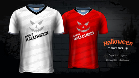 Halloween Costume T-Shirts Mockup Template, Soccer Jersey Uniforms & Custom Apparel for Everyone Including Sportswear and Souvenirs and it is Fully Customization for Scary Festivals Ideas Concept. Stockfoto - 107415367