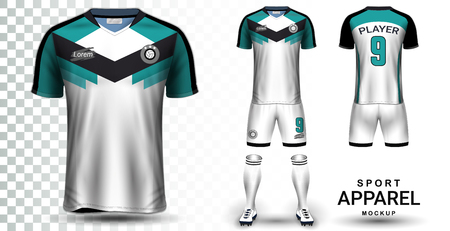 Soccer Jersey and Football Kit Presentation Mockup Template, Front and Back View Including Sportswear Uniform, Shorts and Socks and it is Fully Customization Isolated on Transparent Background. Ilustracja