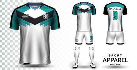 Szablon makiety prezentacji koszulki piłkarskiej i zestawu piłkarskiego, widok z przodu iz tyłu, w tym strój sportowy, szorty i skarpetki i jest w pełni dostosowywany na przezroczystym tle.