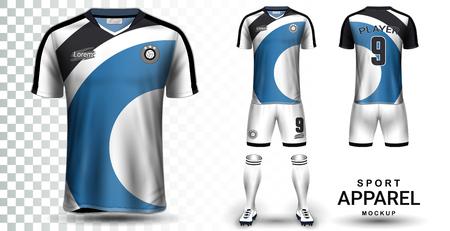 Modèle de maquette de présentation de maillot de football et de kit de football, vue avant et arrière, y compris l'uniforme de vêtements de sport, un short et des chaussettes.Il est entièrement personnalisé isolé sur fond transparent. Vecteurs