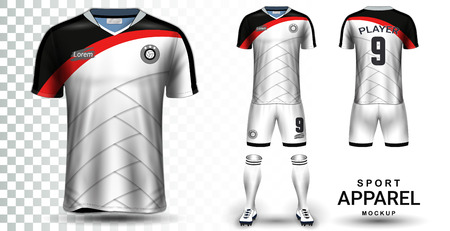 Soccer Jersey and Football Kit Presentation Mockup Template, Front and Back View Including Sportswear Uniform, Shorts and Socks and it is Fully Customization Isolated on Transparent Background. 矢量图像
