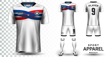 Soccer Jersey and Football Kit Presentation Mockup Template, Front and Back View Including Sportswear Uniform, Shorts and Socks and it is Fully Customization Isolated on Transparent Background. Illustration