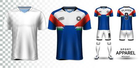 Koszulka piłkarska i makieta prezentacji zestawu piłkarskiego, widok z przodu iz tyłu koszulki i jest w pełni dostosowywana na przezroczystym tle, może być używana jako szablon z własnym projektem.