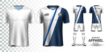 Fußballtrikot und Fußballtrikot-Präsentation Mockup, das T-Shirt Vorder- und Rückansicht und es ist vollständig individuell auf transparentem Hintergrund isoliert, kann als Vorlage mit Ihrem eigenen Design verwendet werden.