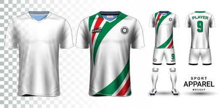 Soccer Jersey and Football Kit Presentation Mockup, The T-shirt Front and Back View and it is Fully Customization Isolated on Transparent Background, Can be used as a template with your own design. Stockfoto - 110682131