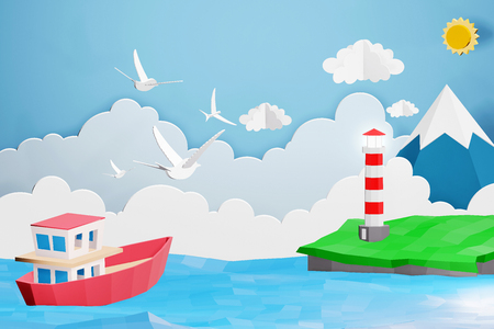 Paper art style of Lighthouse and Boat is sailing in the sea under the sunlight, Origami summer time and travel concept, Easy to use by print a special offer or whatever you want, 3D rendering design.