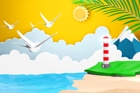 Paper art style of Sea with beach and Lighthouse under the sunlight, Origami summer time and travel concept, Easy to use by print a special offer or whatever you want, 3D rendering design. Banco de Imagens