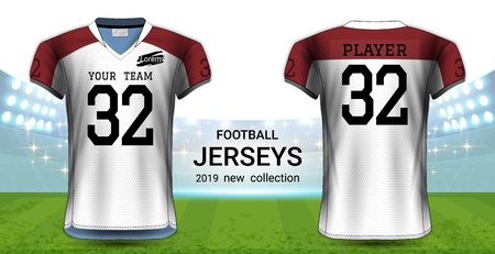 American Football or Soccer Jerseys Uniforms, Realistic Graphic Design Front and Back View for Presentation Mockup Template, Easy Possibility to Apply Your Artwork, Text, Image, Logo (Eps10 Vector)